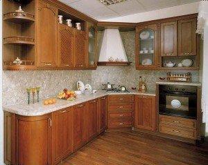 ъглова кухня от МДФ с фурнир